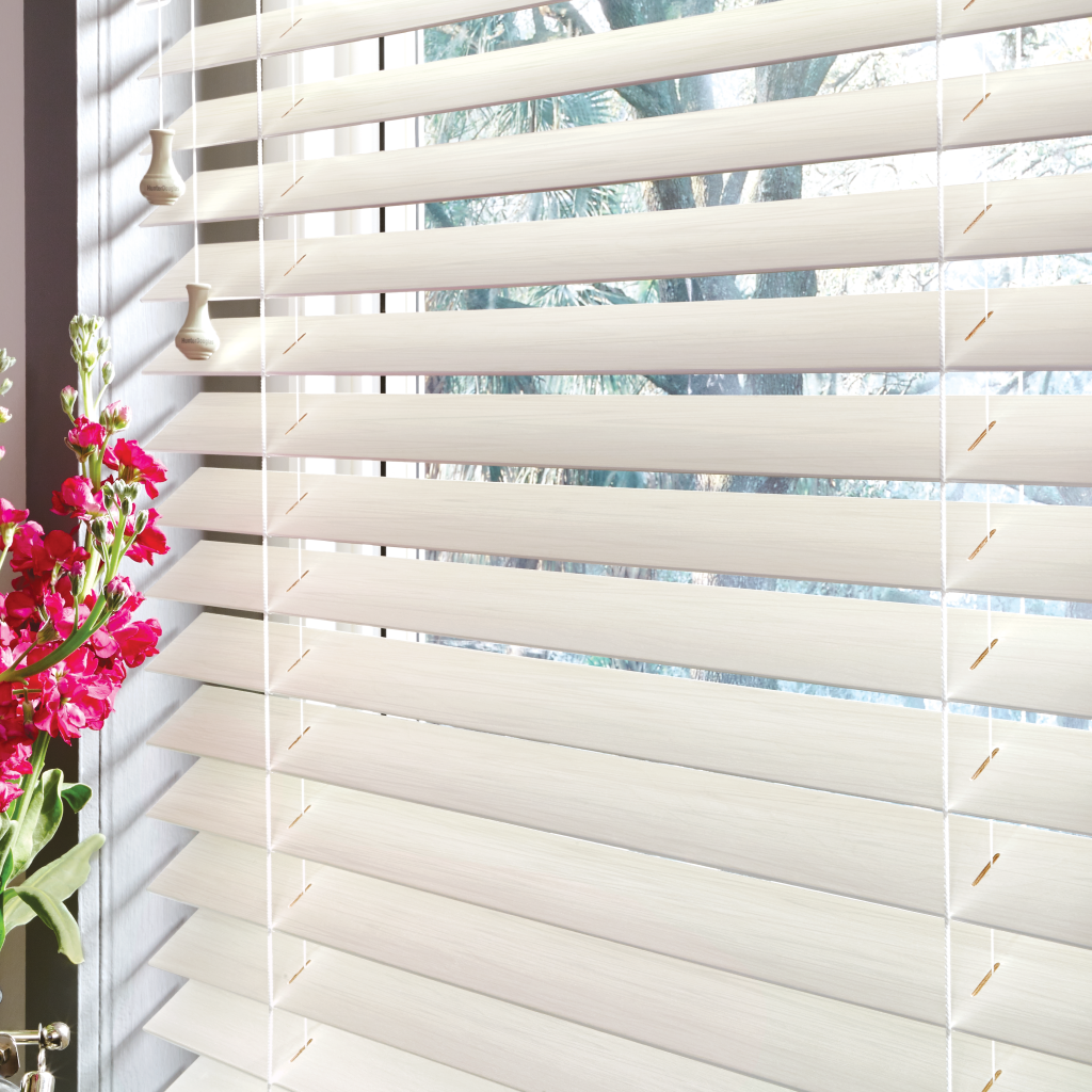 Wood Parkland Shades by Hunter Douglas in White